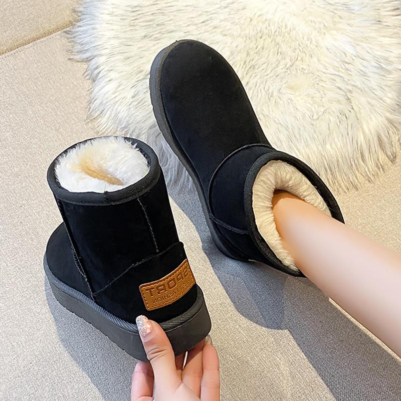 雪地靴女2020新款秋冬季百搭女鞋加绒加厚短筒短靴子保暖面包棉鞋