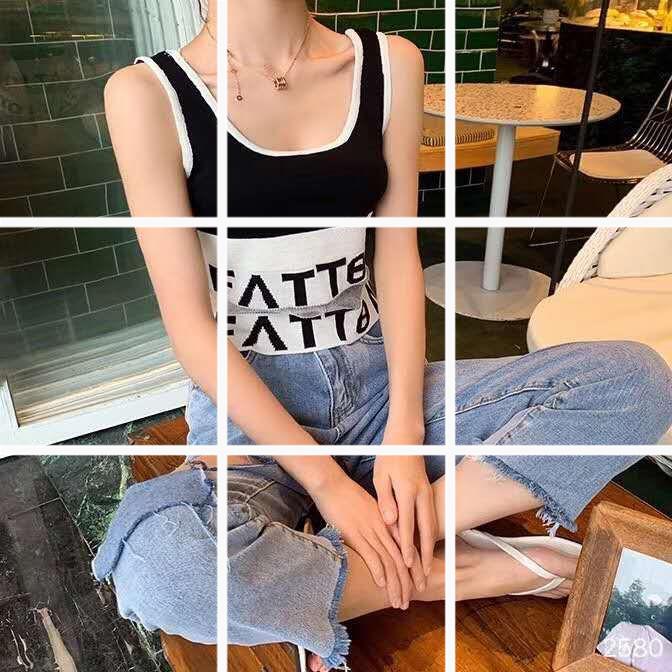 1401#時尚新款露臍網紗拼接百搭針織吊帶背心無袖上衣女