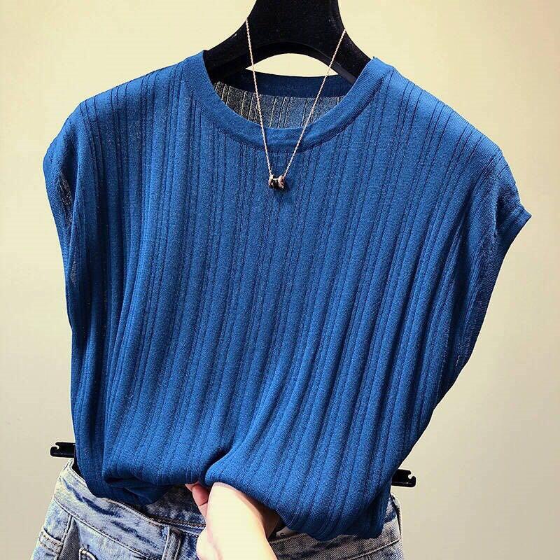 1316#2019春夏宽松显瘦夏季纯色短袖T恤女大码针织上衣打底衫女