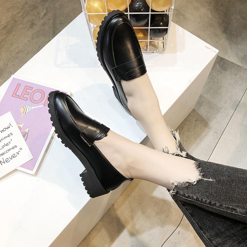 一脚蹬小皮鞋女软皮英伦风配西装的韩版百搭夏天中跟黑色粗跟单鞋