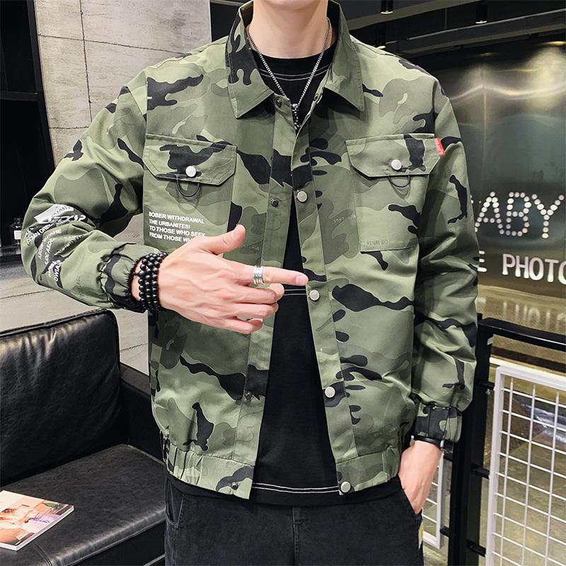 夹克男秋季2019新款韩版宽松上衣棒球迷彩服潮流帅气男装迷彩外套