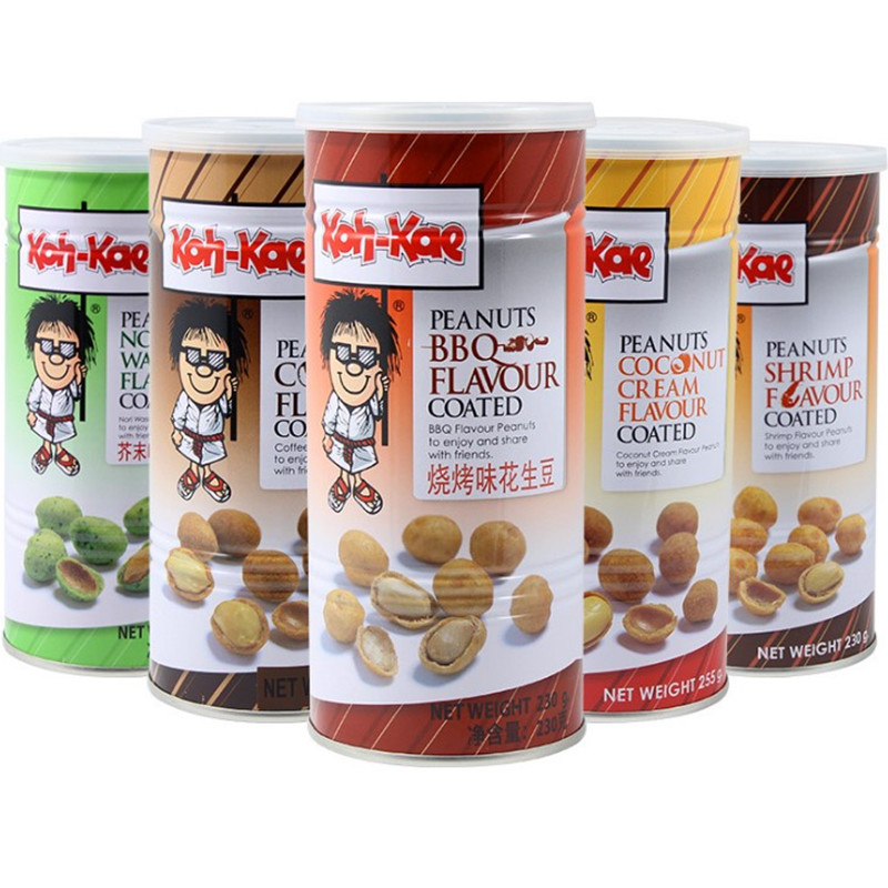 Thailand import big brother peanut bean barbecue chicken shrimp mustard flavor fried goods 230g / can import nuts snacks package
