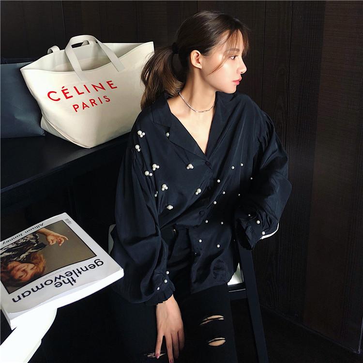 小兔家2018年秋季新款上衣 品牌珍珠长袖棉质纯色衬衫女