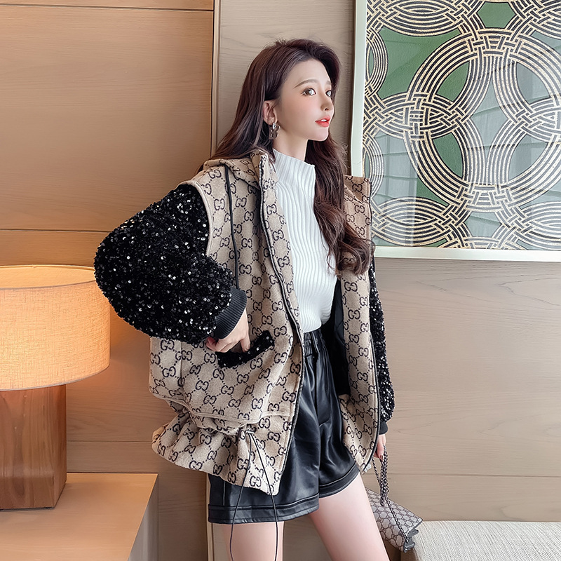 Baseball uniform womens 2020 winter new Korean thickened tweed jacket Sequin jacket