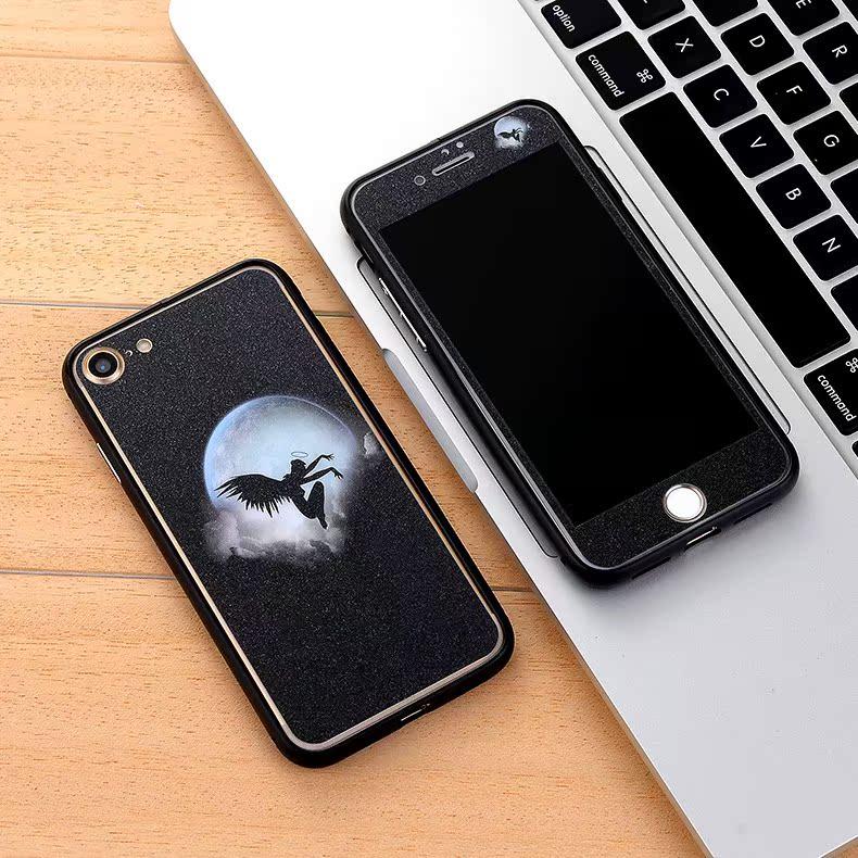 iphone7plus钢化膜7P8+前后玻璃膜5.5送金属边框全屏苹果卡通