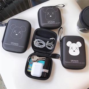 有线耳机收纳包盒子迷你可爱数据线手机充电器卡通多功能整理盒女