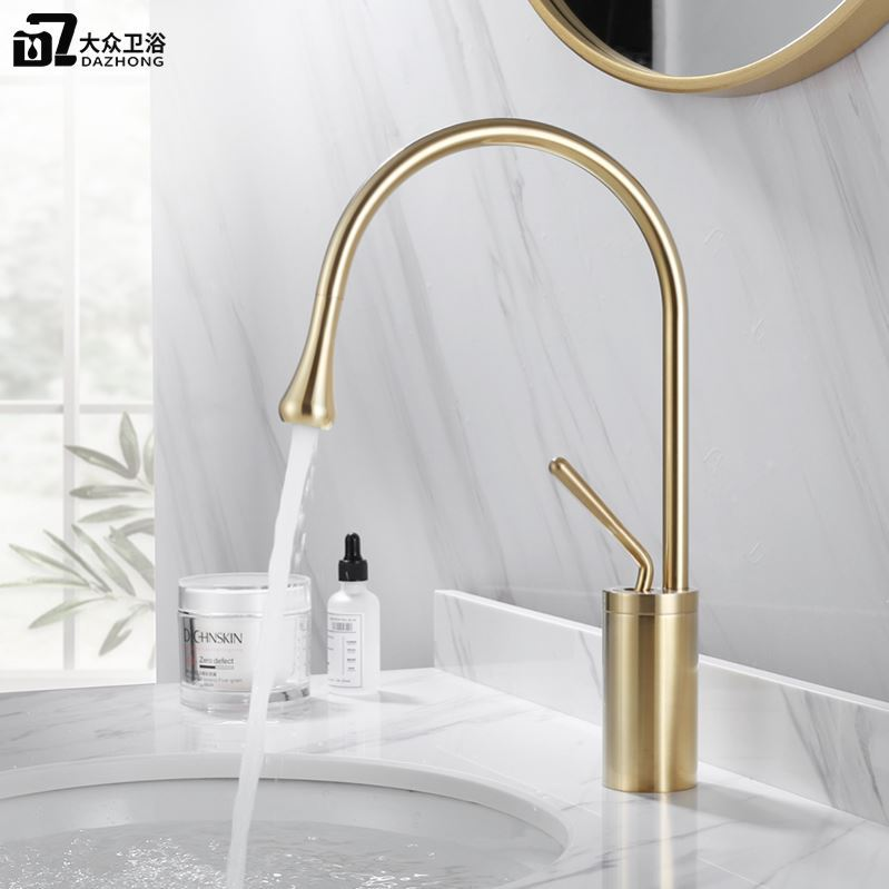 Brushed gold faucet hot and cold washbasin domestic copper tap toilet North European bathroom creative faucet