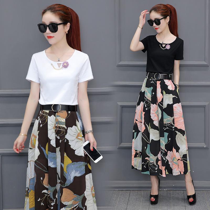 2020新款阔腿裤夏季女装中长款夏装韩版修身雪纺九分裤裙裤两件套
