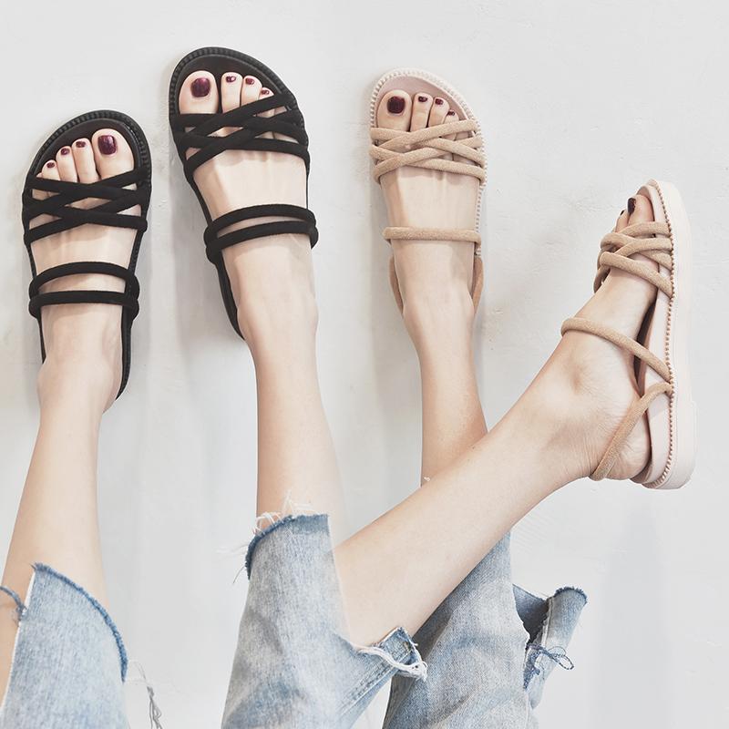沙滩凉鞋女平底2019夏季新款网红百搭超火仙女风两穿罗马鞋ins潮