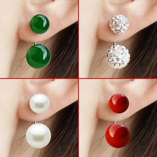 S999纯银耳钉女后挂耳环玛瑙珍珠日韩国气质耳饰品睡觉不用摘饰品
