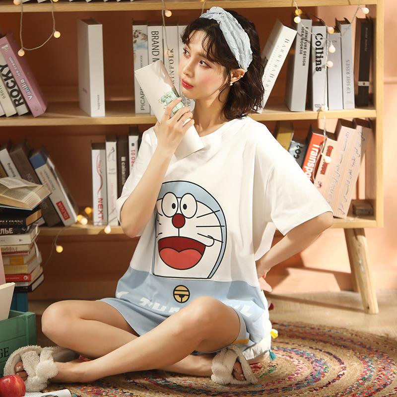【木春】夏季6535睡衣女短袖短裤韩版甜美宽松薄款家居服两件套装
