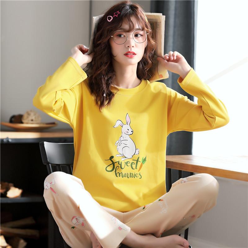 木春秋冬季新款女士睡衣纯棉长袖长裤字母兔条纹印花家居服套装