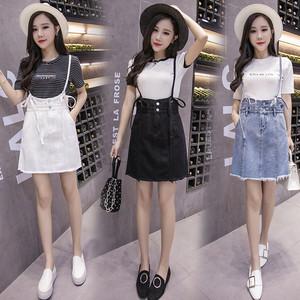 实拍1505# 夏装女装韩版学院风百搭牛仔背带裙显瘦短裙简约...