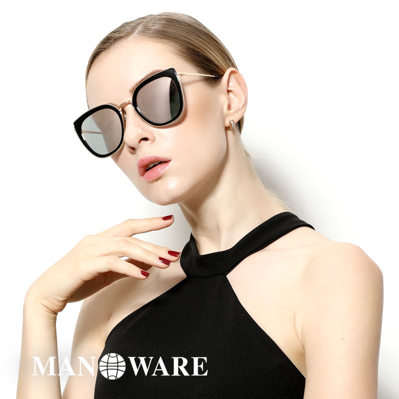 Manaville womens Sunglasses 2019 new fashion cats eye polarized glasses UV proof round face Sunglasses Women