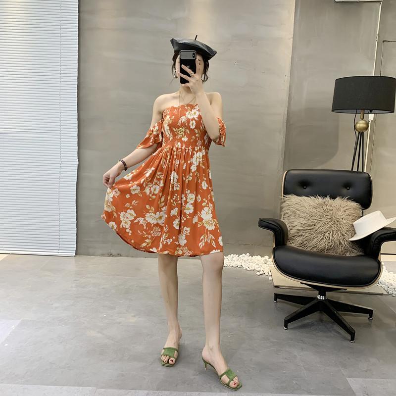 印花夏新款外贸女装一字领连衣裙