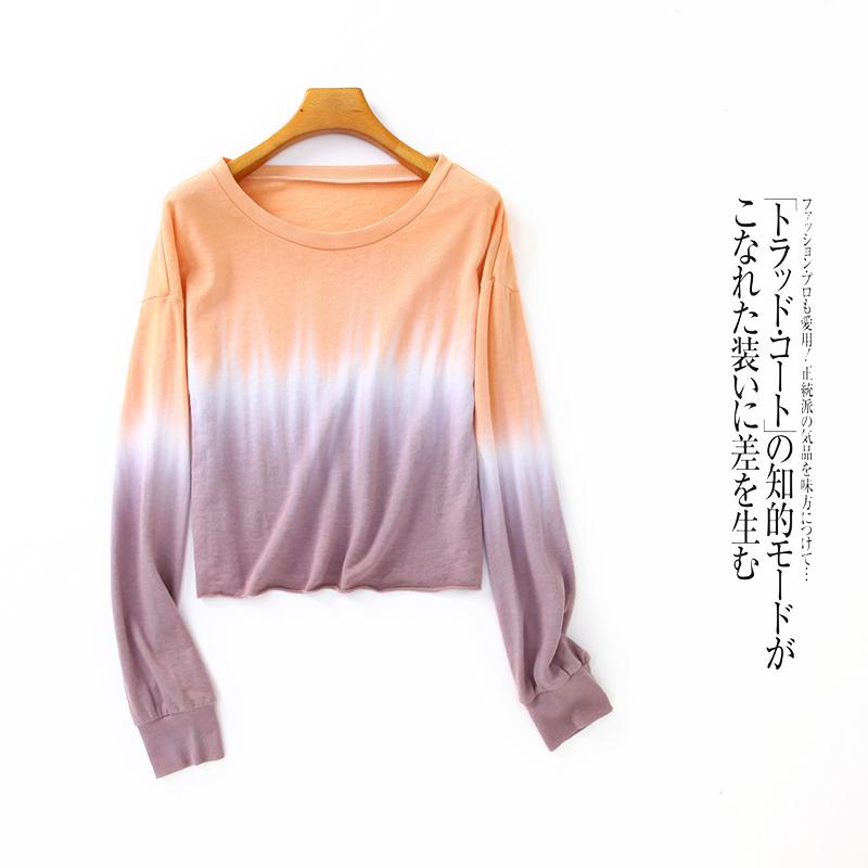 毛圈卫衣  夏季新款女装韩版宽松圆领长袖渐变弹力套头上衣13665