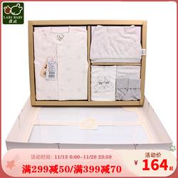 拉比礼盒婴儿百日礼盒套装送礼暖暖满月内着服饰5件组礼盒装