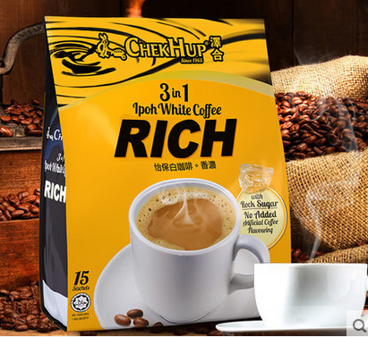 Malaysia import zehe Ipoh three in one white coffee strong instant coffee powder 600g in two bags