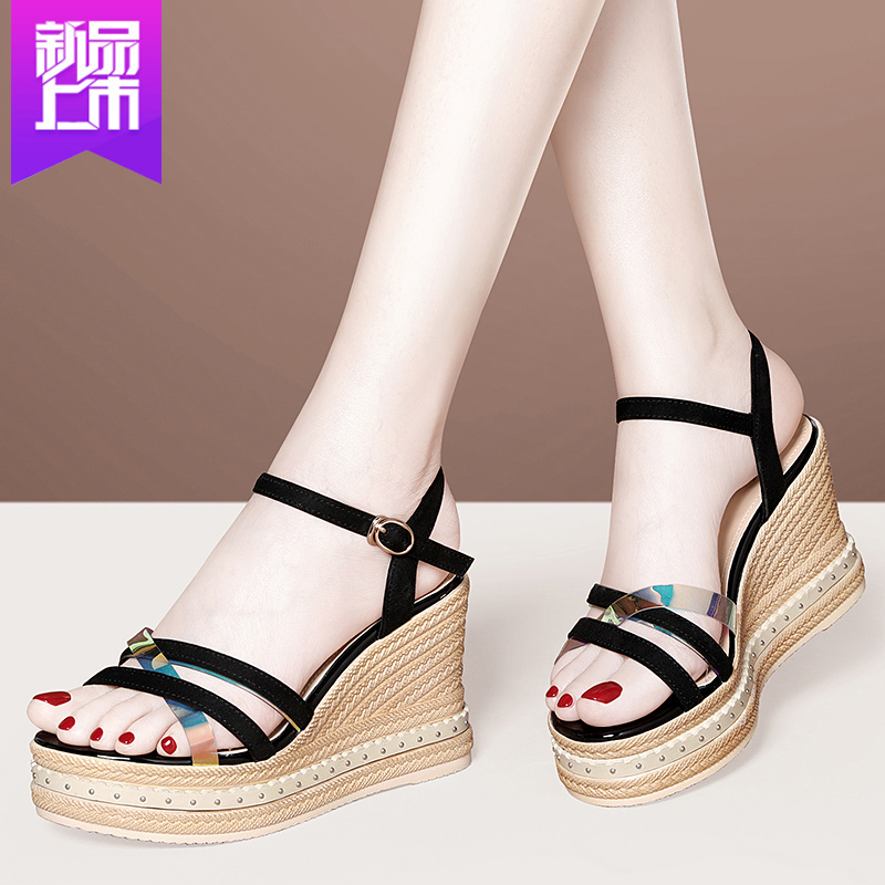 Sandals 2020 new spring summer summer versatile fashion thick sole slope heel fairy style high heel thick heel lady shoes
