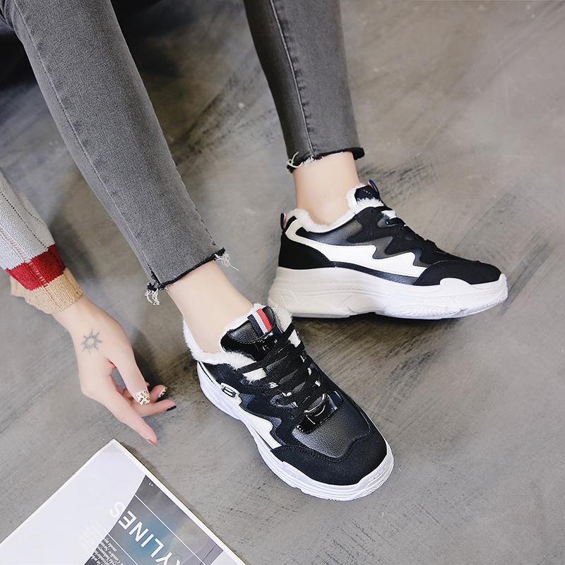 ins风女鞋2018新款厚底老爹鞋韩版时尚女球鞋加绒保暖运动鞋丑鞋
