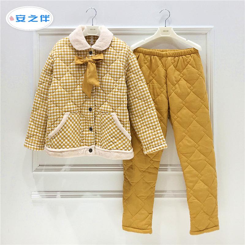 安之伴夹棉睡衣女冬三层加厚珊瑚绒日系格子梭织纯棉袄冬款家居服