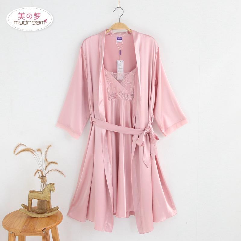 香港美之梦正品婵之云性感蕾丝两件套睡裙仿真丝绸V领镂空吊带裙