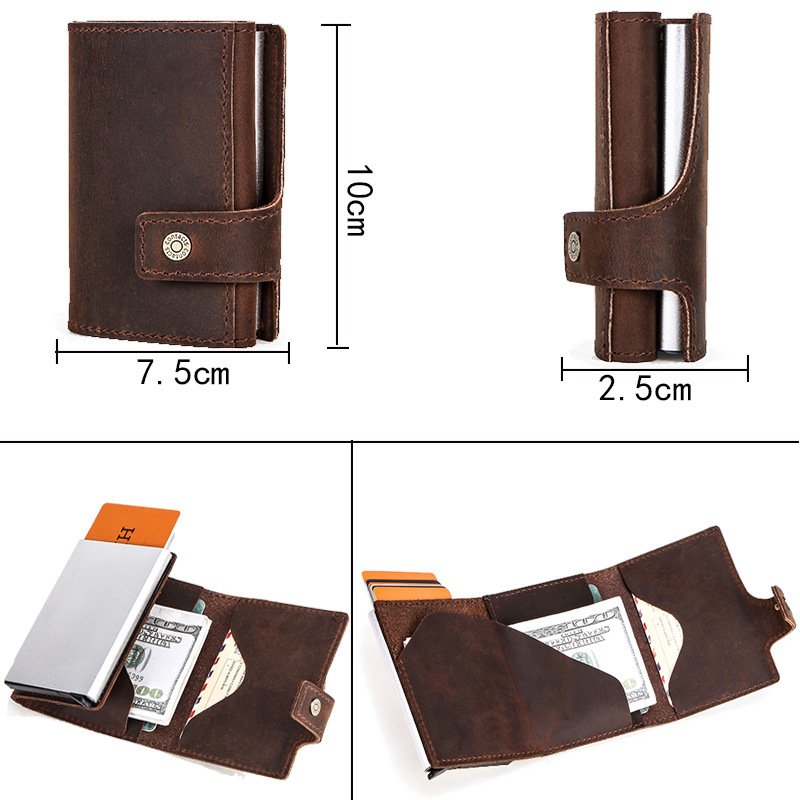 Retro Crazy Horse cow leather case wallet RFID multi function card bag metal automatic pop-up anti magnetic card box Wallet