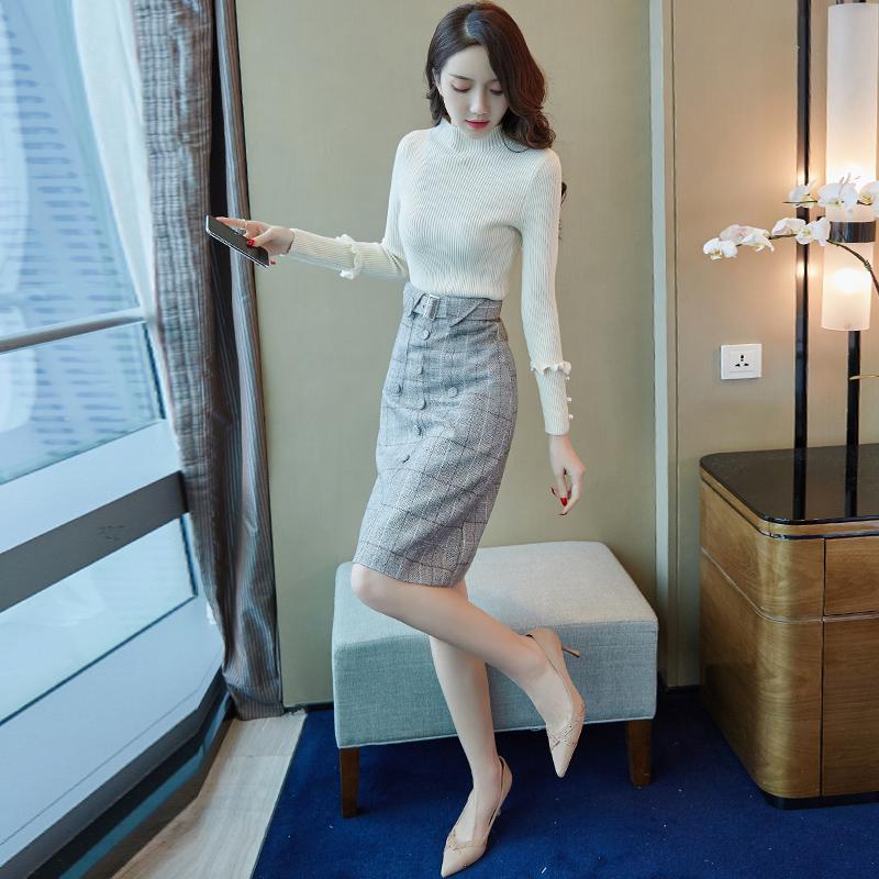 針織連衣裙秋冬季2018新款韓版有女人味的毛衣配裙子兩件套裝打底