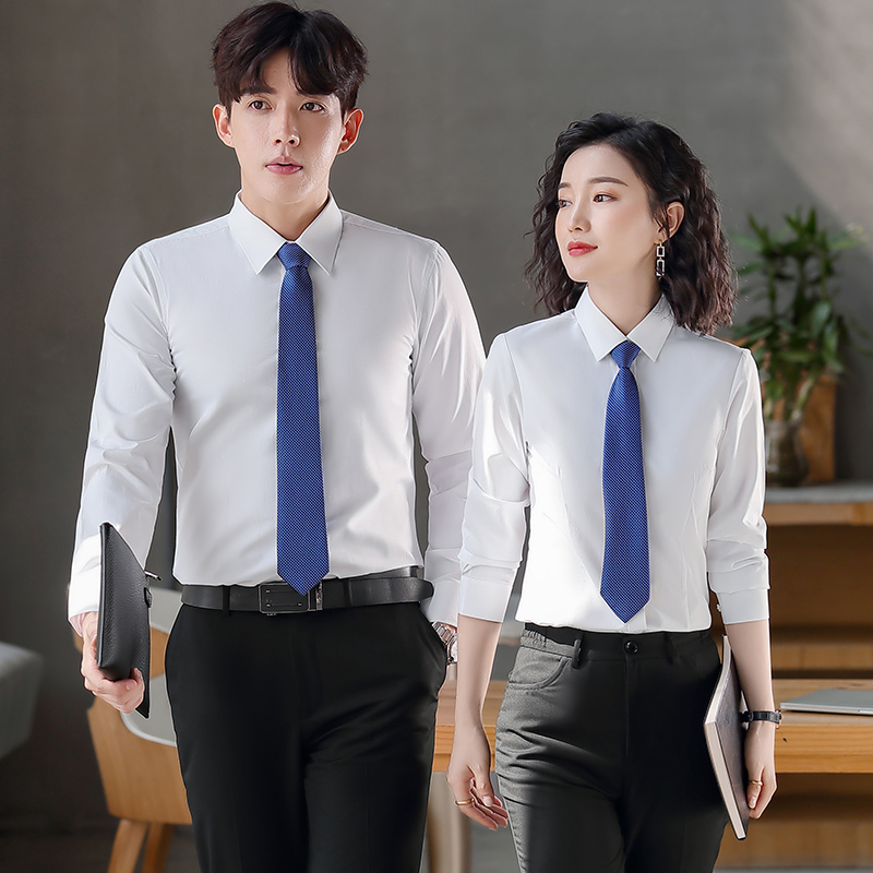 Professional temperament square collar shirt long sleeve waist V-neck white shirt work clothes short sleeve formal mens and womens work clothes large