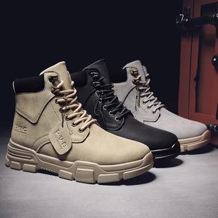 马丁靴男冬季复古英伦风高帮鞋子男潮短靴子中帮百搭韩版工装秋季