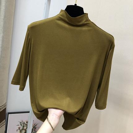 五分袖T恤女夏半高领短袖2021新款薄款莫代尔中袖打底衫修身内搭
