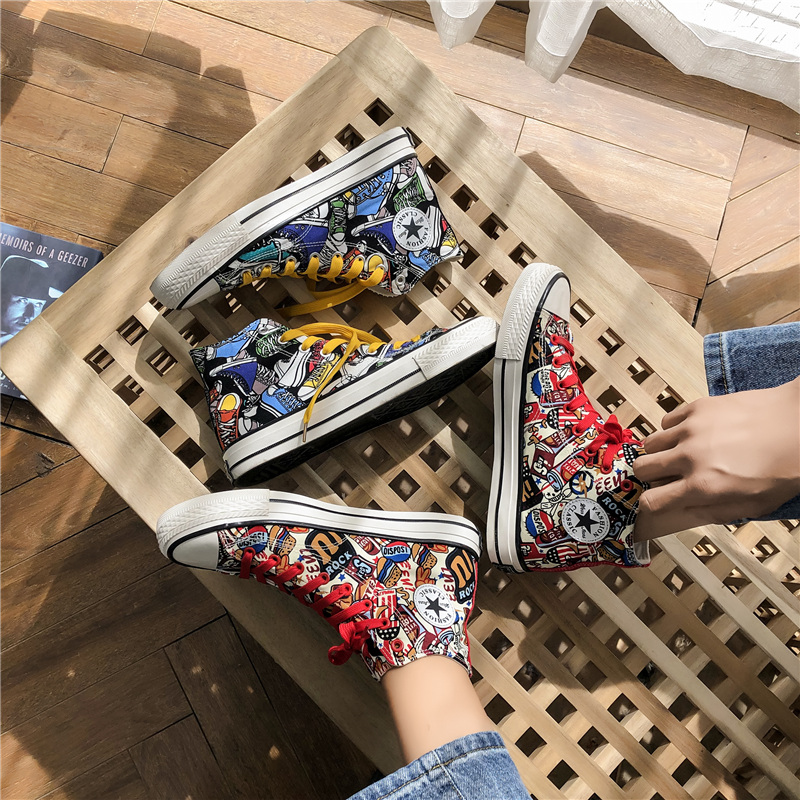 Summer high top canvas shoes mens Korean version versatile trend graffiti board shoes student printed breathable casual shoes couple shoes