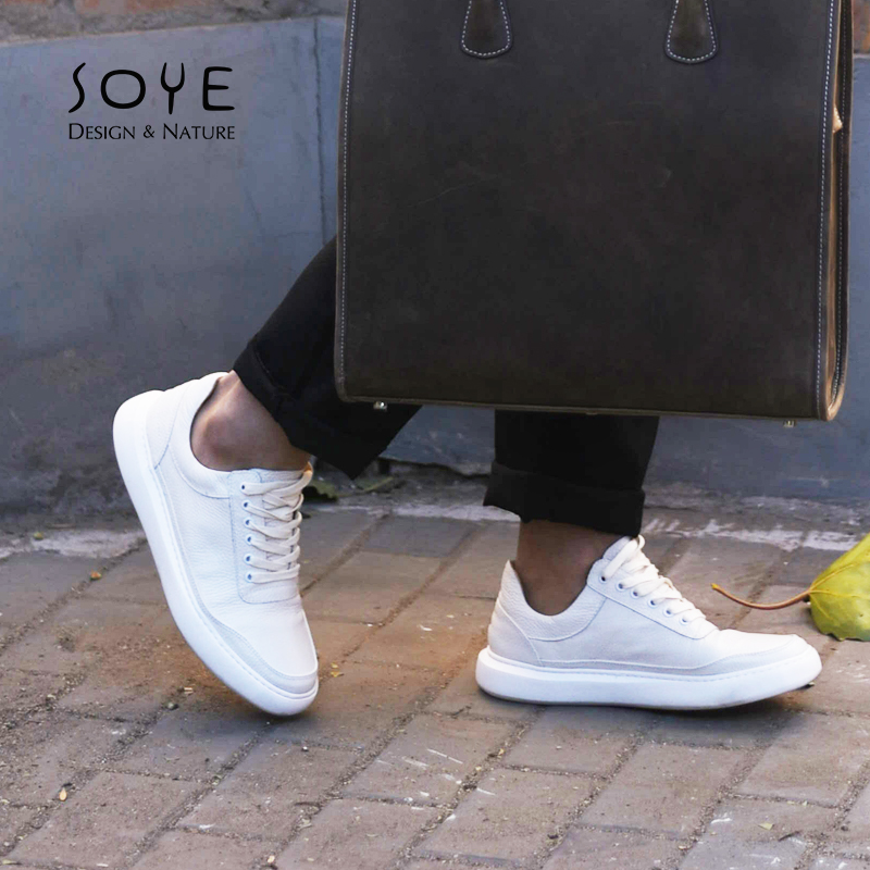 Soye original design hand-made leather mesh mens shoes casual low top flat bottom small white shoes mens and womens shoes