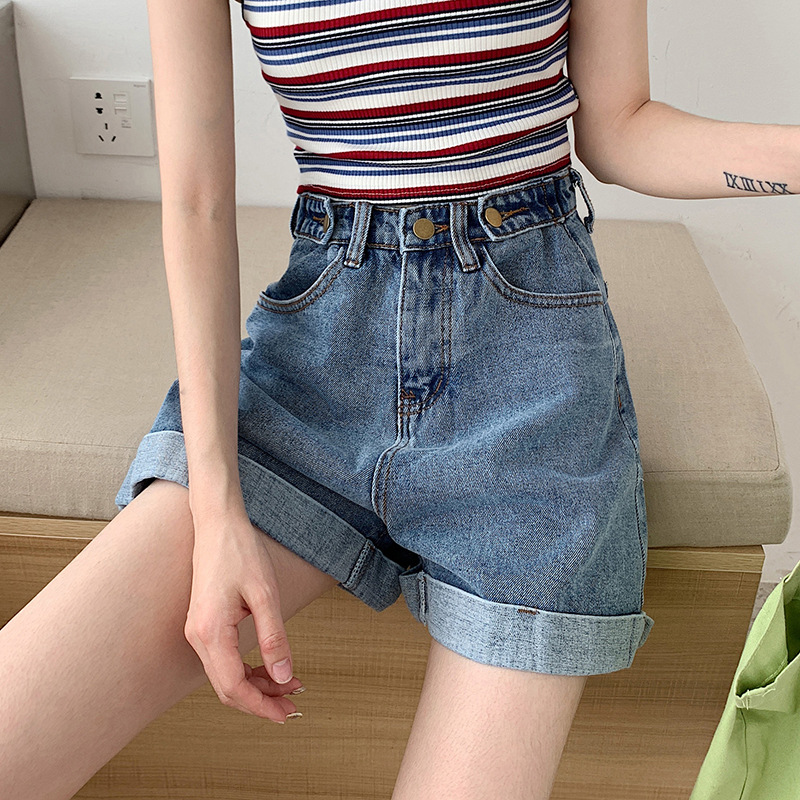 High waisted denim shorts women 2021 summer new loose Korean casual flanging light color wide leg pants fashion wholesale