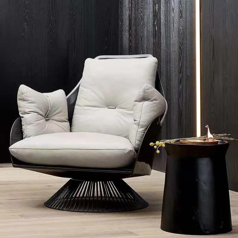 Italian iron leisure chair modern villa living room model room sales office FRP single leather chair