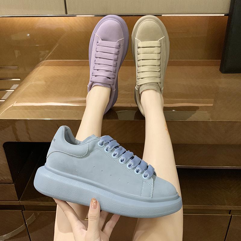 韩版2020秋季新款单鞋系带厚底松糕坡跟低帮鞋休闲鞋板鞋网红女鞋