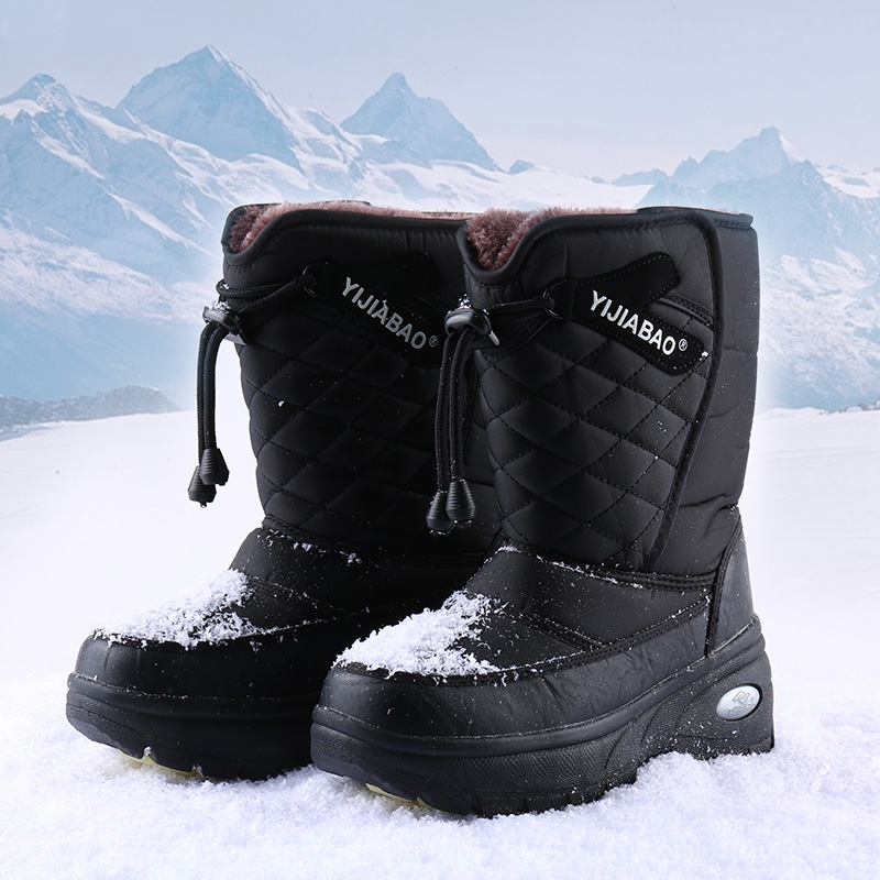 Yijiabao winter medium tube northeast cotton shoes simple casual couple shoes antiskid warm ski boots girl