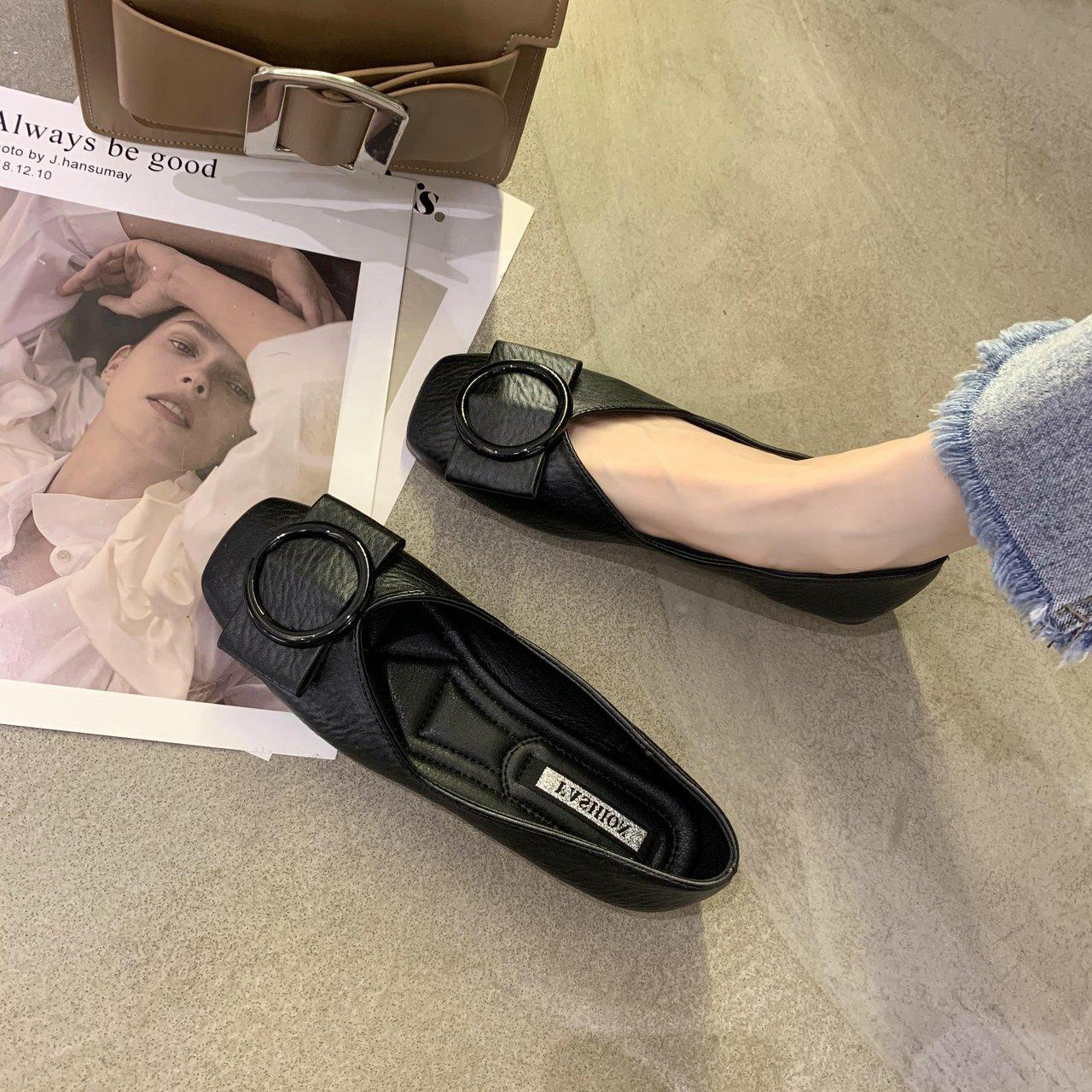 豆豆鞋女春2021新款浅口方头单鞋软底百搭瓢鞋黑色开车上班平底鞋