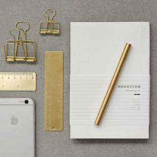 日本购杂啊黄铜直尺签字笔文具套装金属复古笔尺子制作套装学生手