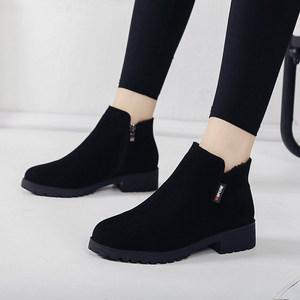 2019秋冬新款平底低跟韩版女鞋短靴百搭女靴子学生马丁靴裸靴棉靴