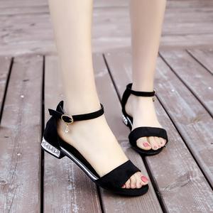 露趾平底凉鞋女2021春夏季新款韩版chic一字扣百搭学生罗马女鞋子