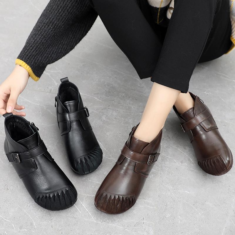 真皮棉鞋女冬妈妈鞋大棉鞋软底防滑保暖皮鞋雪地靴中老年短靴冬鞋