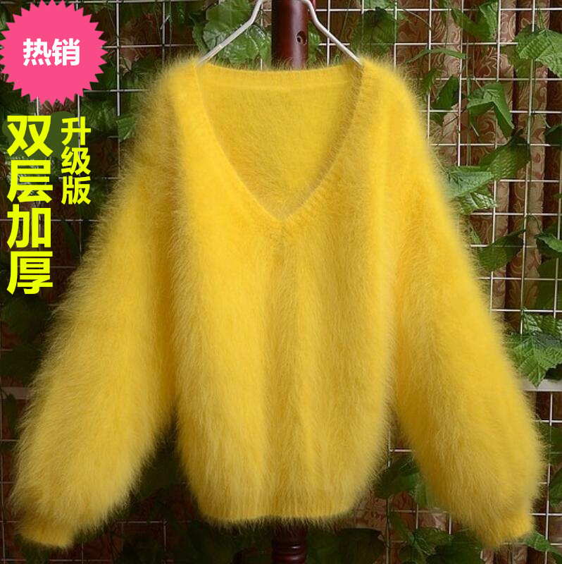 Loss processing high end customized mink sweater V-neck bubble sleeve mink sweater womens short loose T-shirt