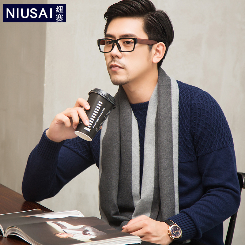 Mens scarf in autumn and winter thin warm neck simple and versatile business middle-aged and elderly high-end gift box