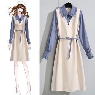 秋款女装初秋装叠穿2020年爆款新款潮流时尚长袖连衣裙两件套装女