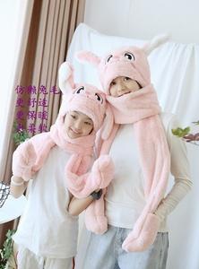 仿獭兔毛帽子头套围巾可爱搞怪冬天保暖儿童连帽一体可爱耳朵可动