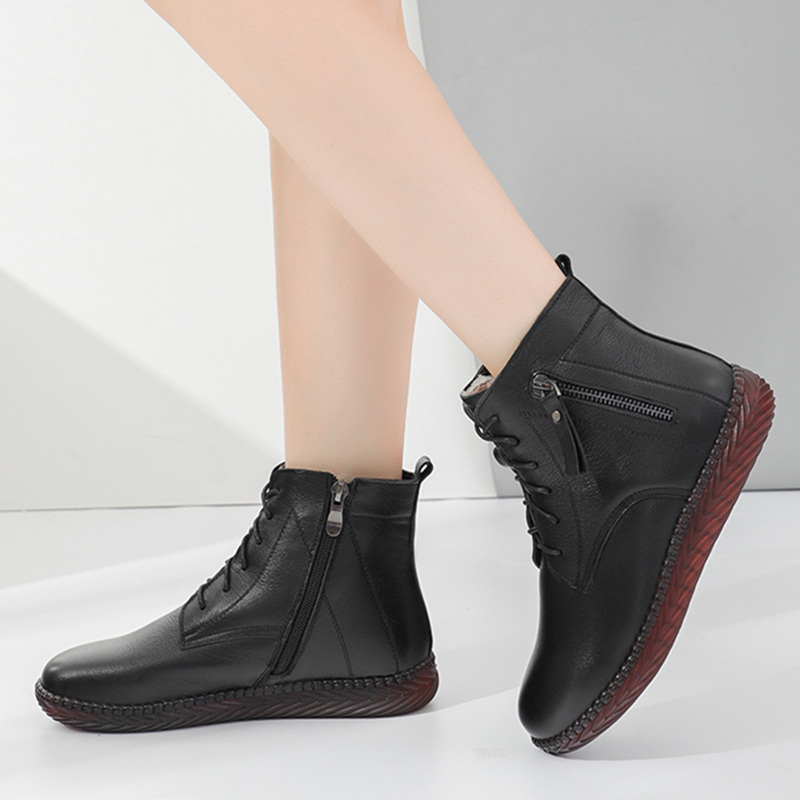 Winter leather soft bottom with plush thickened warm mothers cotton shoes ox tendon bottom anti-skid middle-aged and elderly womens short boots round head