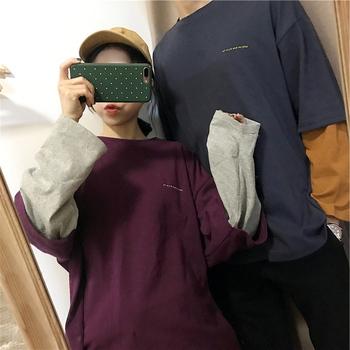 闺蜜情侣装少女长袖t恤韩版打底衫