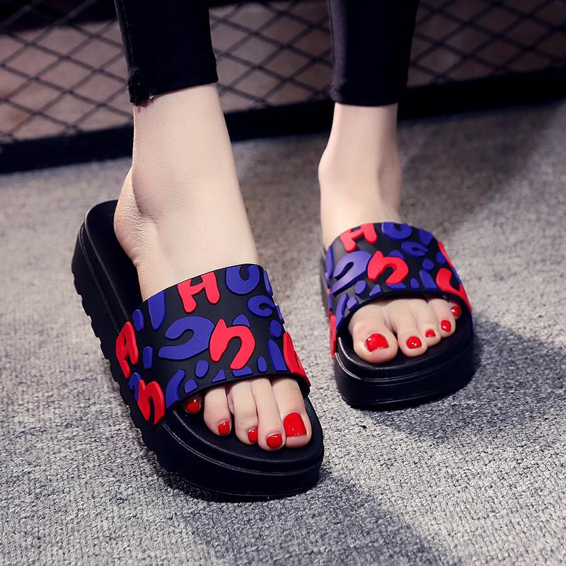 时尚厚底拖鞋女外穿2020新款夏季网红拖鞋女一字拖松糕防滑凉拖鞋