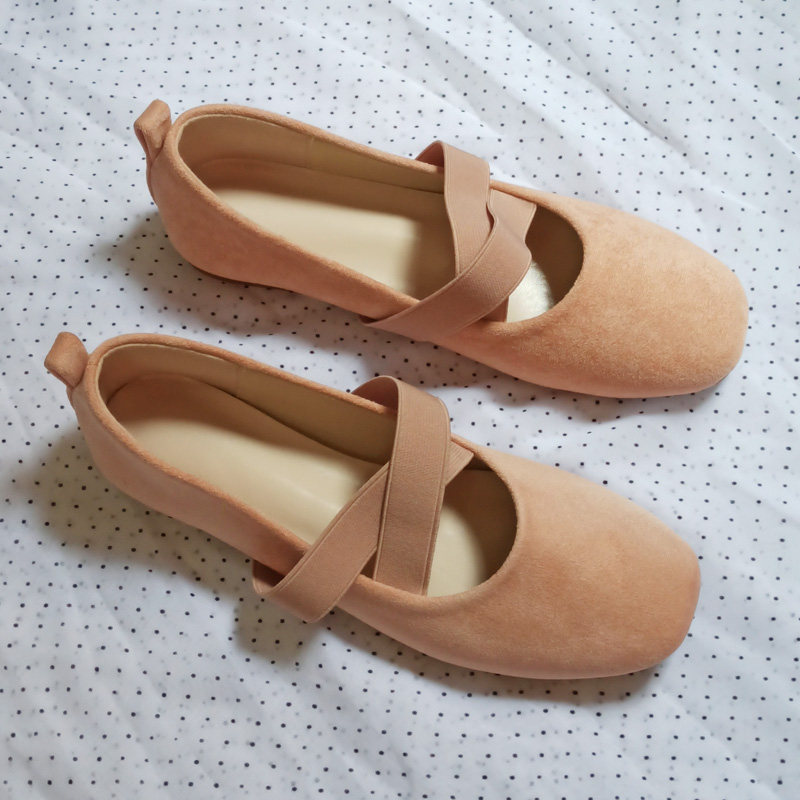 Cloth shoes womens shoes student ballet flat sole single shoes womens shallow mouth square head 21 Korean leisure sweet work shoes antiskid